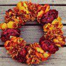 Őszi ajtódísz zöldségből, gyümölcsből
