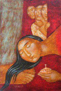 A bűnös nő megkeni Jézus lábát