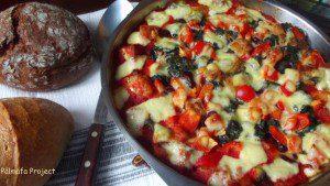Kenyérmorzsa zöldségekkel